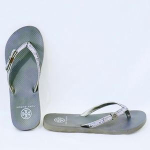 01b804a8a Tory Burch Shoes - TORY BURCH~carey glitter bow~FLIP FLOP~PEWTER